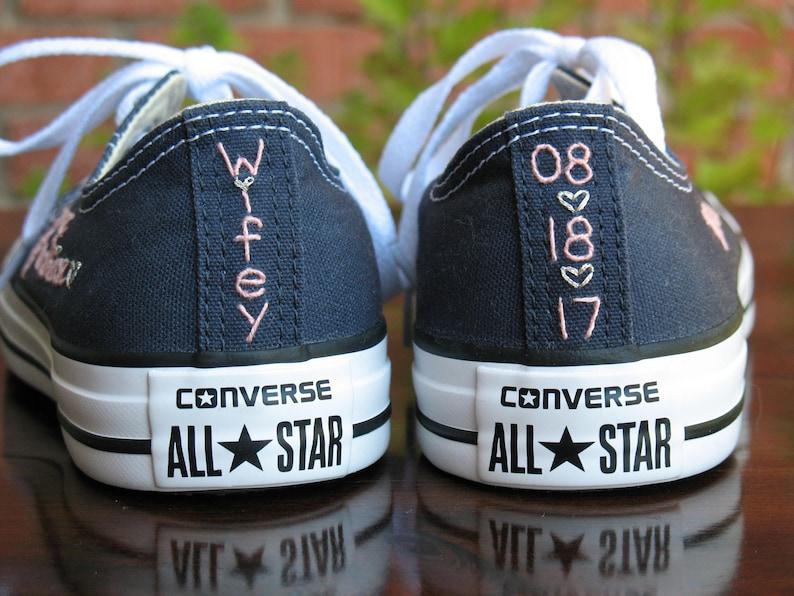 233cb7083429 Custom Wedding Converse stitching Custom Converse Custom