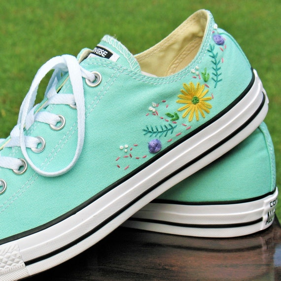 Floral Embroidered Custom Converse, Custom Converse, Floral Converse, Wedding Converse