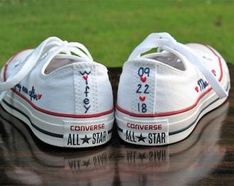 Custom Wedding Converse, Custom Converse, Custom Chuck Taylors, Custom Bride Shoes, Custom Wedding Shoes, Custom Chucks, Wedding sneakers