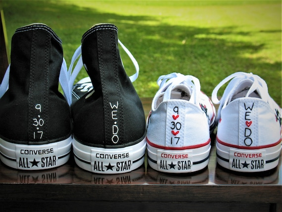 Custom Color Husband Wife Converse, Bridal Converse, Wedding Shoes, Wedding Converse, Bride and Groom Chucks, Bride and Groom Converse