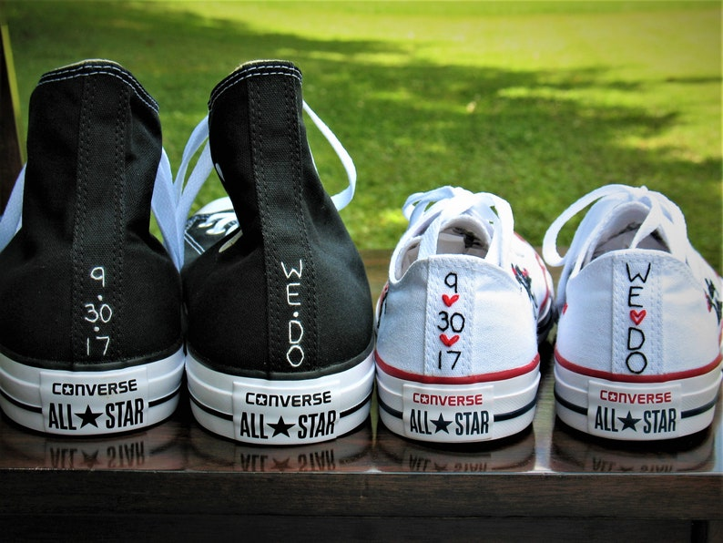 Custom Color Husband Wife Converse Bridal Converse Wedding  d1e6735cf625
