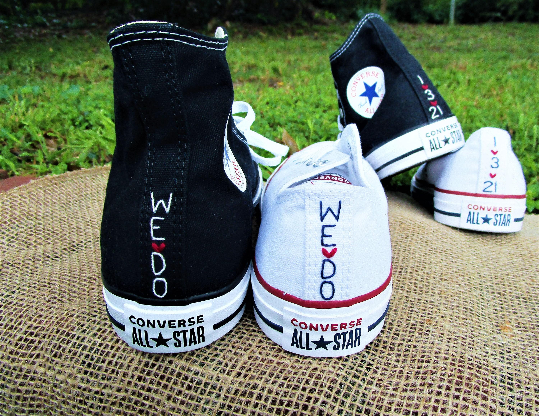 Custom Color Husband Wife Converse, Bridal Converse, Wedding Shoes, Wedding Converse, Bride and Groom Chucks, Bride and Groom Converse