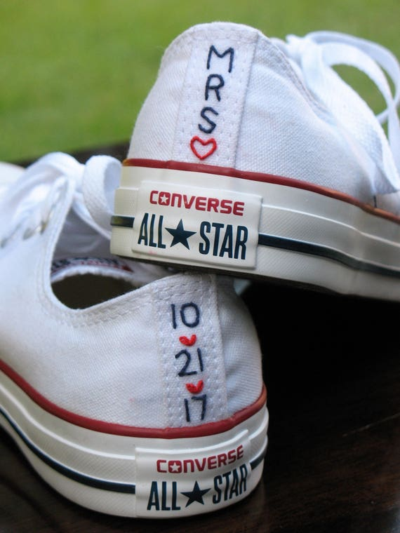 Custom Wedding Converse stitching, Custom Converse, Custom Chuck Taylors, Custom Bride Sneakers, Custom Chucks, shoes not included