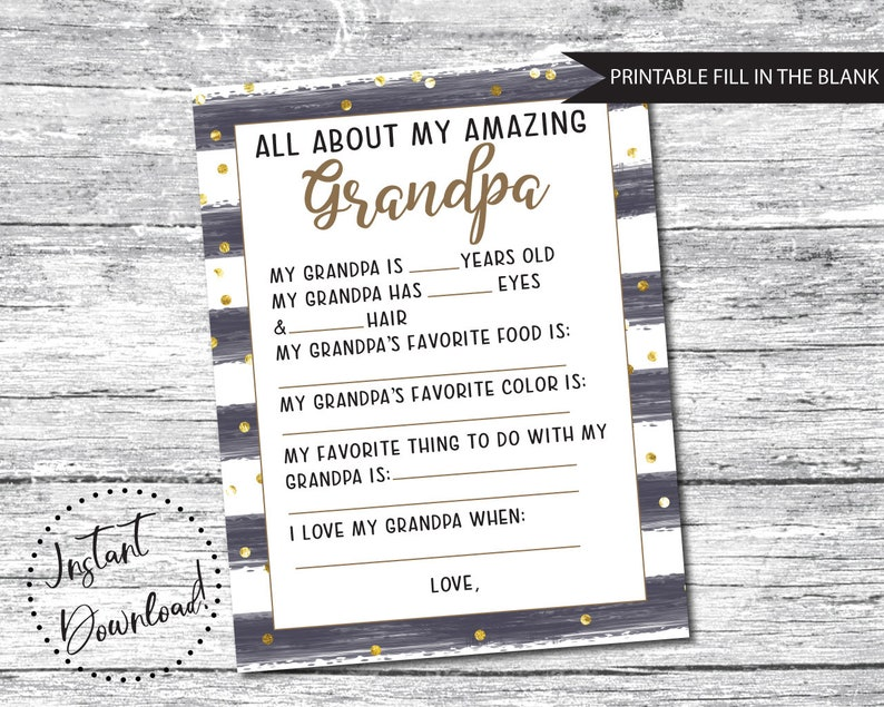 graphic regarding All About Grandpa Printable named Fathers Working day Present Printable, All More than Grandpa, Fathers Working day Questionnaire, Grandpa Fathers Working day Reward, Grandpa Printable Reward, Fathers Working day