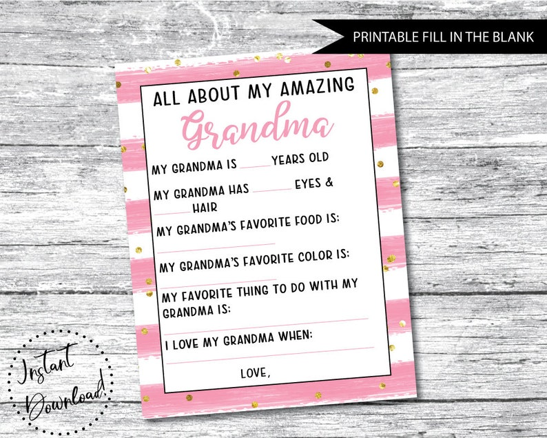 picture regarding All About Grandma Printable known as Moms Working day Present Printable, All Above Grandma, Moms Working day Questionnaire, Grandma Moms Working day Reward, Grandma Printable Present, Moms Working day