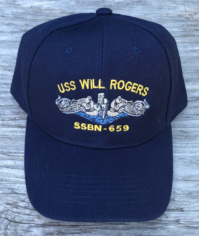 USS Will Rogers SSBN-659 Ball Cap Submarine Enlisted Silver Dolphins FBM Veteran Navy Sub Hat