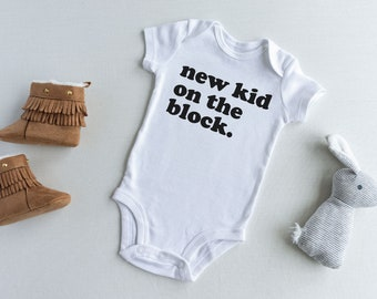 Pregnancy Reveal Onesie New Baby Gift Newborn Onesie New Kid on the Block Onesie
