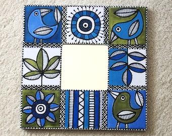 Small Wall Mirror, Decorative Wall Mirror, Framed Mirror, Mosaic Mirror - BLUE BIRDS