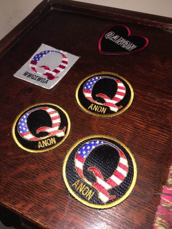 "Q Anon 3/"" Patch Follow the white Rabbit USA Flag Qanon Iron on embroidered Trump"