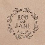 Laurel Wreath Wedding Stamp, Wreath Wedding Save the Date Stamp, Leaves Wedding Stamp, Rustic Wedding Favor Stamp  AWS100