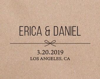 Unique Wedding Save the Date Stamp Modern Wedding Stamp Square Wedding Favor Stamp  AWS107 Monogram Wedding Stamp