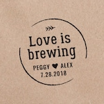 Love is Brewing Stamp, Coffee Wedding Favor, Wedding Stamp, Wedding Favor Stamp, Wedding Shower  HW107