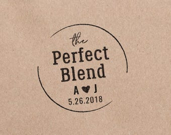 The Perfect Blend Stamp, Coffee Wedding Favor Tags, Tea Favor Wedding Stamp, Personalized Stamp, Rustic Wedding Favor Stamp  HW105