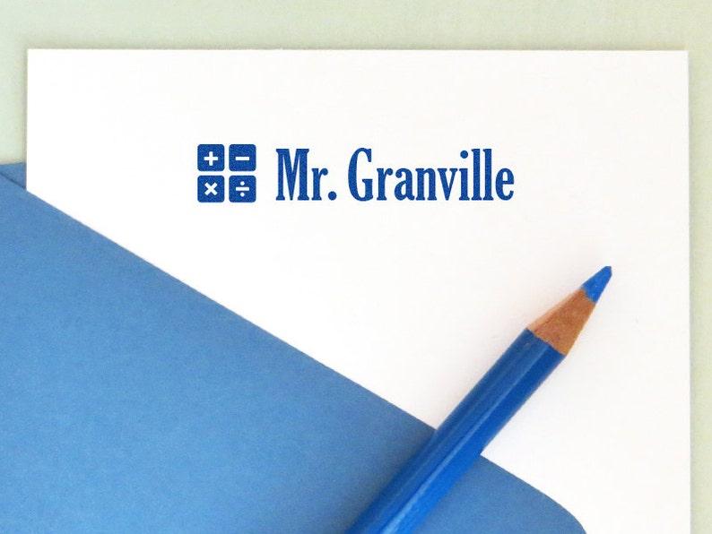 Math Symbols Stamp, Back to School, Math Teacher Stamp, Teacher Stamp,  Teacher Appreciation Gift, Personalized Name Stamp, AT105