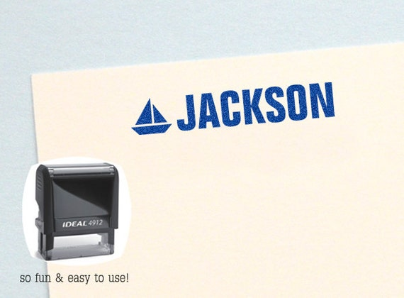 Personalized Kid Gifts Sailboat Self Inking Name Stamp