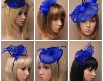 bac97fb54c2c0 Royal blue ladies fascinator hatinator wedding races
