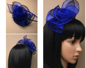 06571d78317da ROYAL BLUE Ladies Vintage Inspired Sinamay and Feather Fascinator Hatinator  Aliceband Hairband Wedding Races Prom