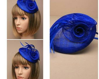 dca6f30de0055 ROYAL BLUE Ladies Sinamay Beret Cap with Rose Feather Design Fascinator  Hatinator Hairband Satin Aliceband Wedding Races Mother of the Bride