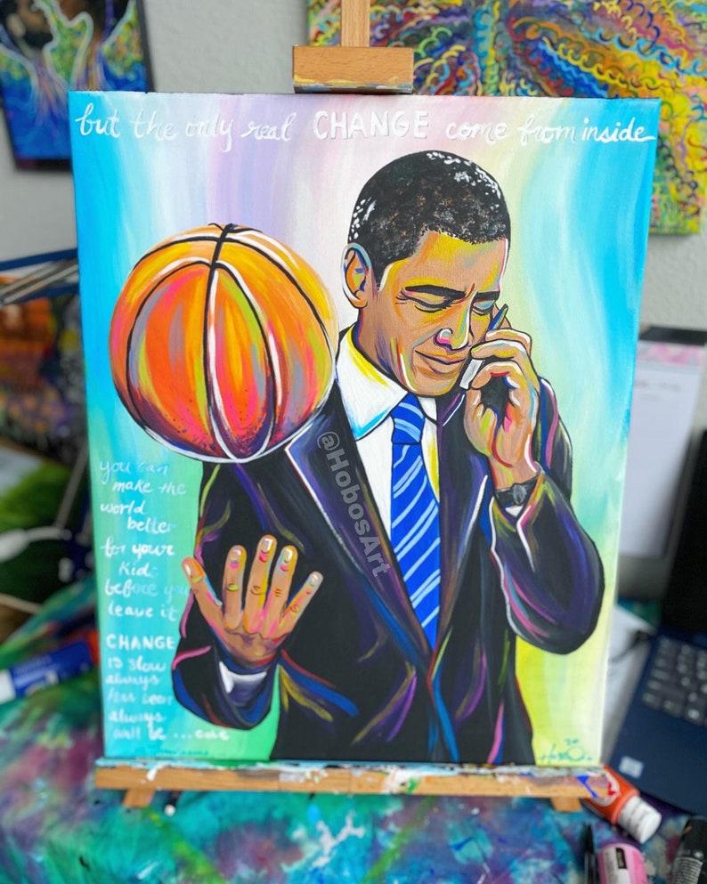 Obama Change Colorful Wall Art image 0