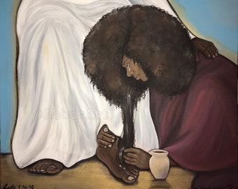 Woman Washing Jesus Feet Wall Art