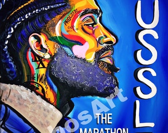 The Marathon Continues - Nipsey Hussle Colorful Wall Art