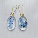 Forget-Me-Not Oval Earrings, Floral Resin Drop Earrings