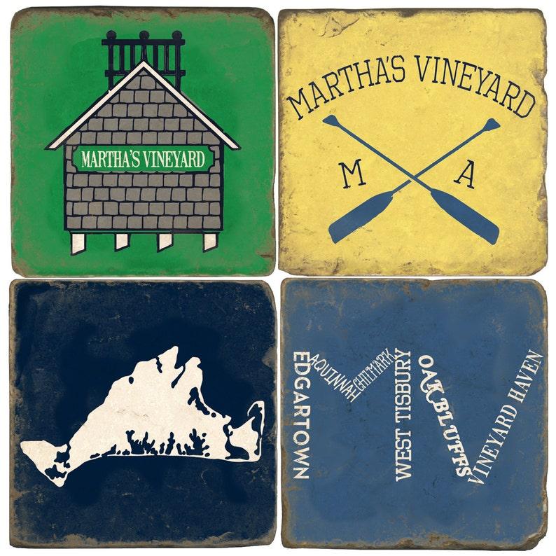 Martha's Vineyard Italian Marble Coasters image 0