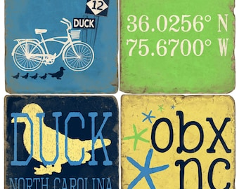 Duck Outer Banks Italian Marble Coasters (set of 4)