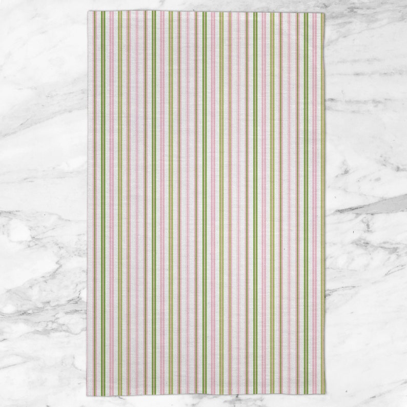 Stripe-Pink-Green-Tea Towel-Guest Towel-Powder Bath-Towel-Tea Towel Set-Kitchen Towel-Kid-Bath-Kids-Baby-Gift-Coordinate-Compliment-Accent