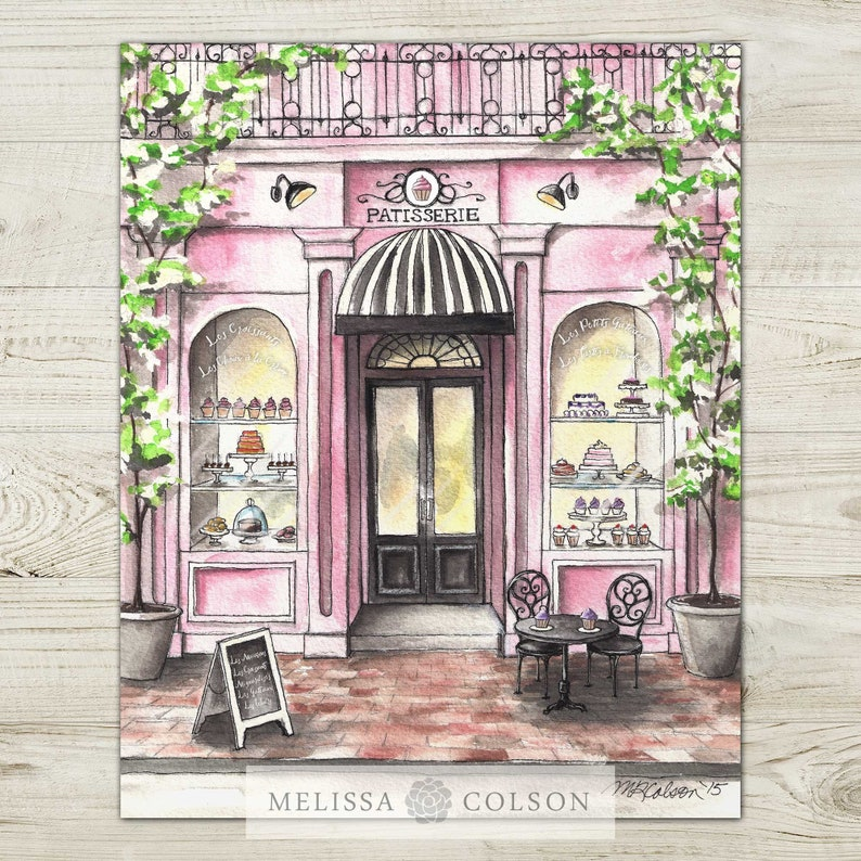 French Patisserie Watercolor Giclée Print French Bakery image 0