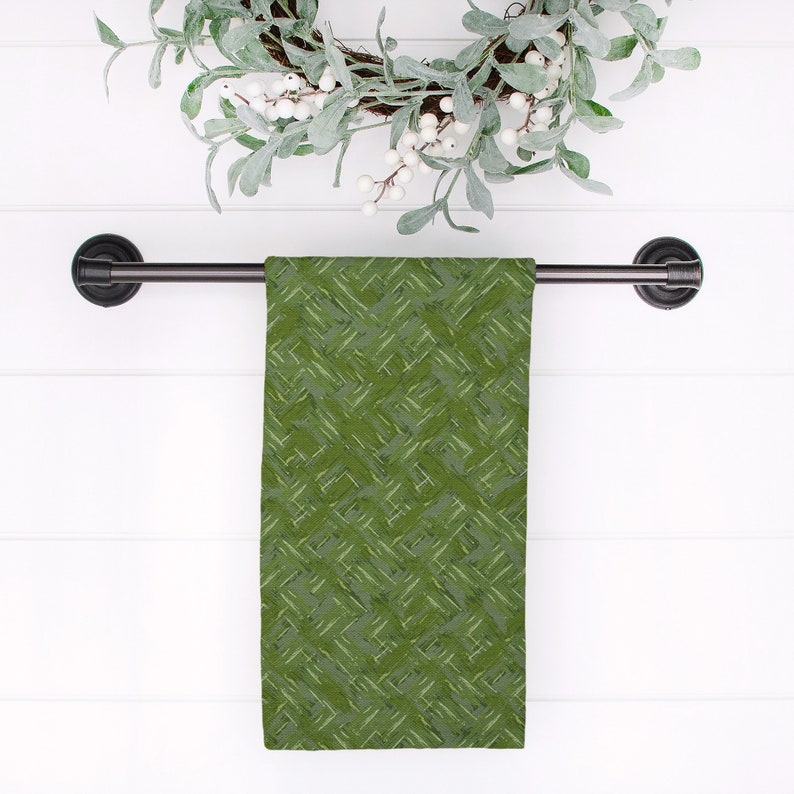 Herringbone Textured Tea Towel-Green-Kitchen Towel-Guest Towel-Watercolor-Tea Towel Set-Texture-Cotton-Simple-Pink-Coordinate-Mix and Match