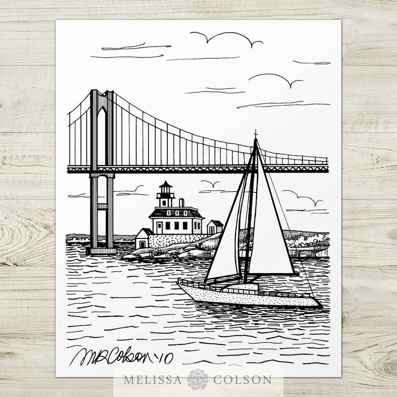 Newport Rhode Island Giclée Pen and Ink Print 8x10 11x14 image 0