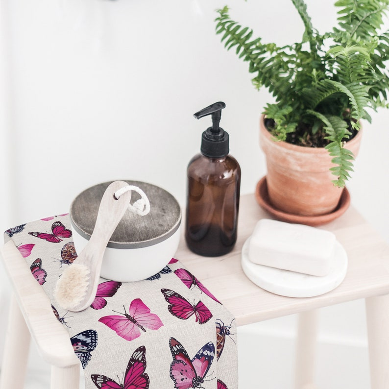Butterfly Tea Towel-Blush-Kitchen Towel-Guest Towel-Watercolor-Tea Towel Set-Butterfly-Cotton-Pink-Green-Elegant-Black-Vintage-Bugs-Insects