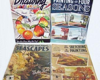 Menge 4 1960er Jahre WALTER Fördern Kunst Bücher, Wie Zeichnen Malen Im  Freien Skizzieren Indoor Malerei, Zeichnen Malen Seestücke, Farbe Der Vier  ...