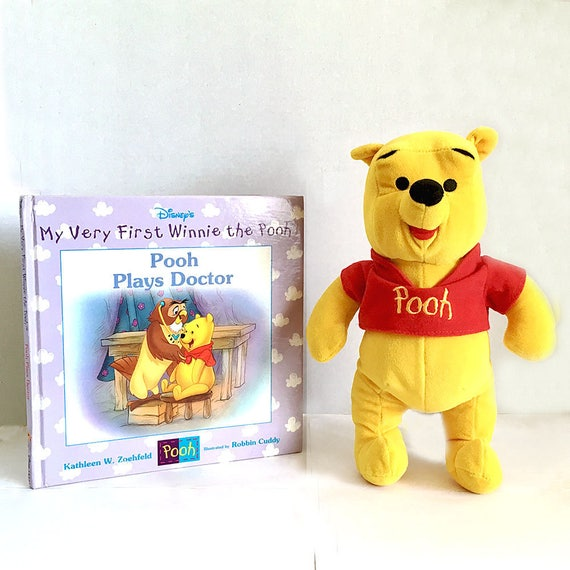 Winnie The Pooh Disney Pooh Stuffed Bear Pooh Plays Doctor Etsy