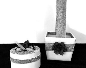 Silver Flower Girl Basket Ring Bearer Box | Silver Flower Girl Basket & Glitter Ring Box Beach Wedding | Silver Ring Bearer Box Alternative