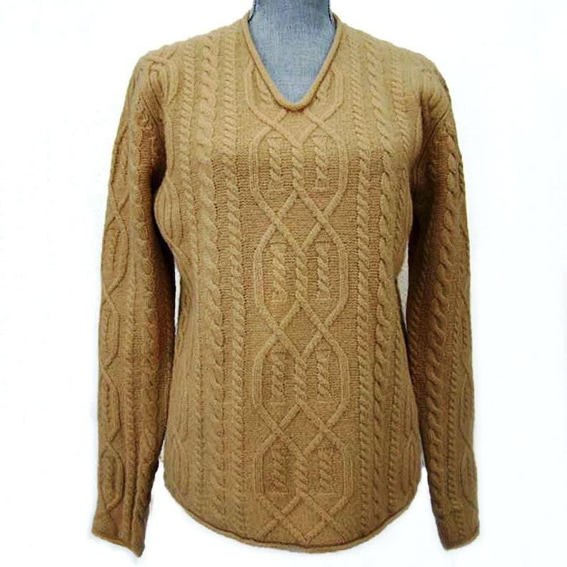 J CREW Cable Knit Wool Sweater JCREW Womens Wool Sweater Camel V Neck Cable Knit Lambswool Sweater