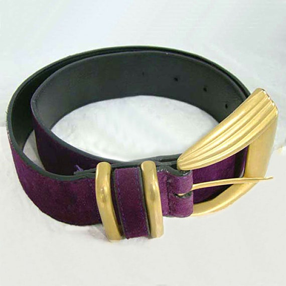 Donna Katz Purple Suede Belt, Women's Purple Belt,