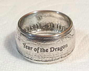 Year Of The Dragon Coin Ring. Hand Crafted From .999 Fine Silver. Half oz.  Sizes 7 through 10.