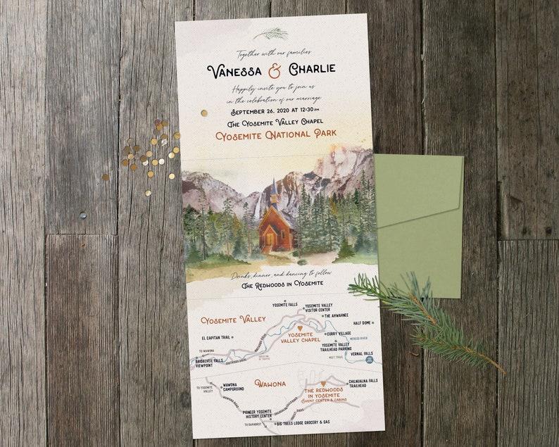 Yosemite Folded Invitation with Map image 0