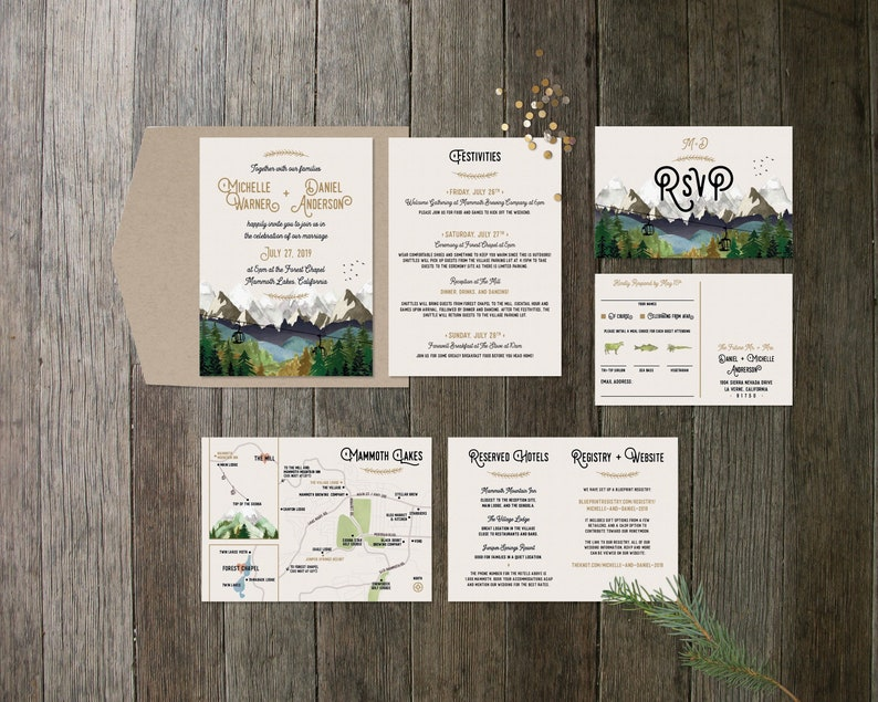 Mountain 3-Piece Invite Set with Map image 0