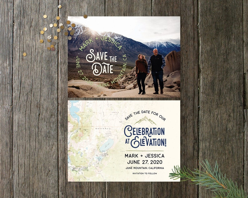 Rustic Topo Map Save the Date with Custom Photo image 0