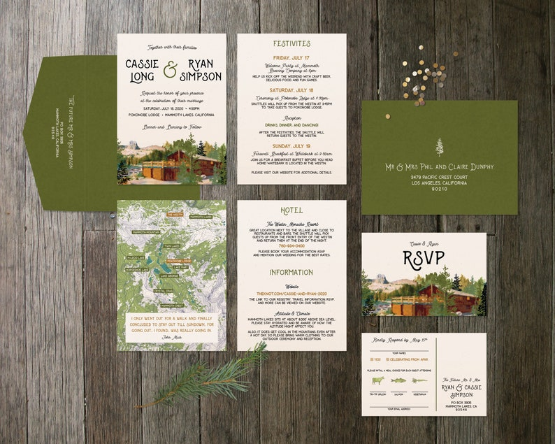 Pokonobe Lodge 3-Piece Invite Set with Topo Map image 0