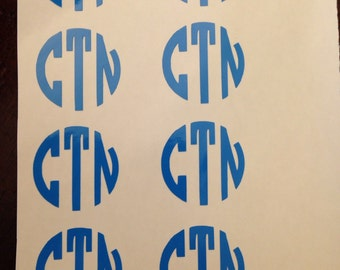 Set of 8 mini monogram decals (price includes shipping)
