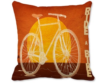 Vintage Bike Pillow -  Cycling Decor - Bicycle Pillow - Art Pillow - Cyclist Decor - Inspirational Quote Throw Pillow