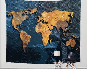 World map tapestry rustic fabric art print wall hanging world map tapestry rusted metal and blue ocean with compass stamps on fabric art print wall gumiabroncs Choice Image