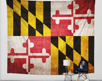 Maryland Flag Tapestry Distressed Fabric Art Print Wall Hanging - Md Flag