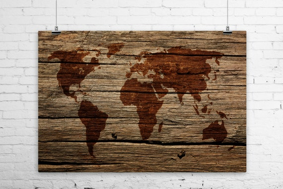 Rustic world map on barn wood art print wall poster sepia gumiabroncs Image collections