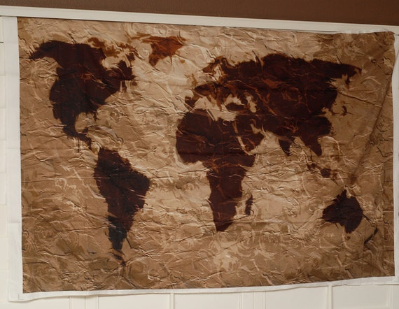 World map tapestry rustic fabric art print wall hanging gumiabroncs Images