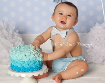 Cake Smash Outfit Boy 1st Birthday Party Baby Blue